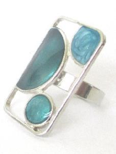 BAGUE RECTANGLE BLEU