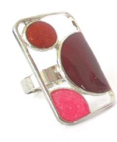 BAGUE RECTANGLE ROUGE