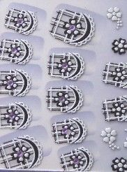STICKERS 3D FRENCH FLEURS STRASS