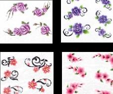 LOT 4 WATER DECAL FLEURS