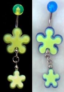DUO PIERCINGS NOMBRIL PENDENTIF