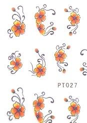 STICKERS FLEURS ORANGE JAUNE