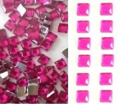 STRASS CARRE ROSE FUCHSIA