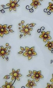 STICKERS FLEURS JAUNE MARRON