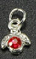 PIERCING D'ONGLE ARGENTE STRASS ROUGE