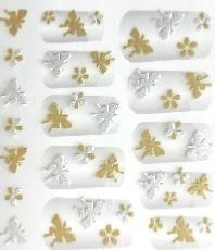 STICKERS PAPILLONS DORE ARGENT